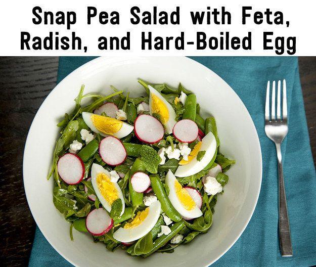 Arugula, green bean, and radish salad with hard boiled eggs and feta.