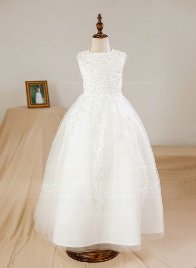 [US$ 61.99] Ball Gown Ankle-length Flower Girl Dress - Satin/Tulle Sleeveless Scoop Neck With Beading/Appliques