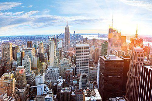 New York penthouse skyline photo wallpaper - Manhattan panorama view mural - XXL poster New York wall decoration 55 Inch x 39.4 Inch Great Art http://www.amazon.com/dp/B00SVE5X22/ref=cm_sw_r_pi_dp_p2rQwb1Z4FDZZ