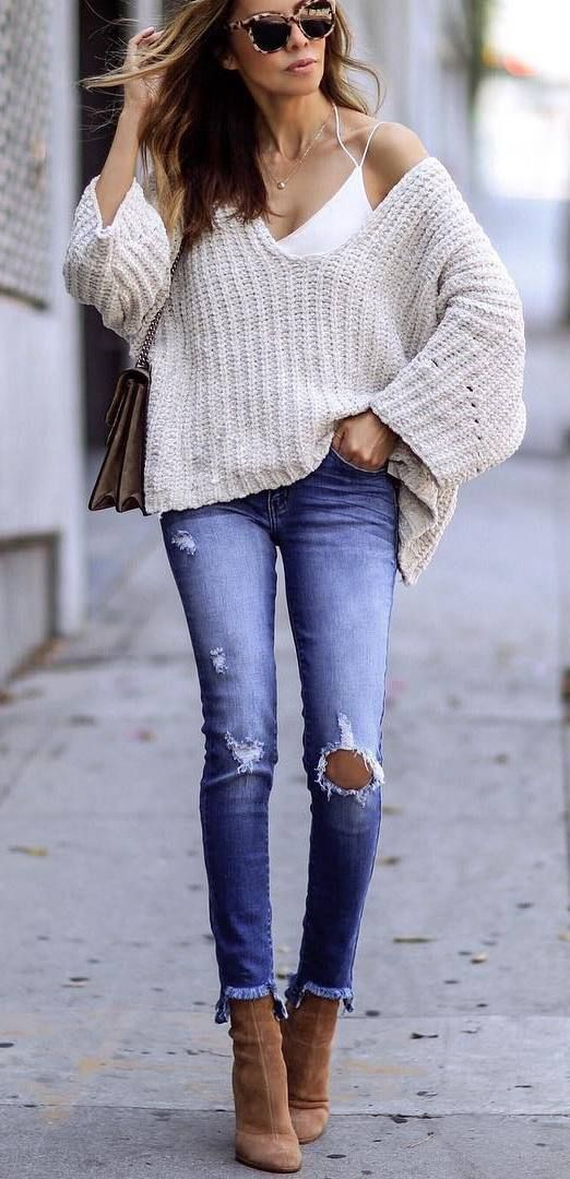 ootd | oversized sweater + top + ripped jeans and boots    teen  teenage  fashion  style  vacation  beach  college  summer + spring  womens  outfits  casual  romper  first day  school  fall + winter