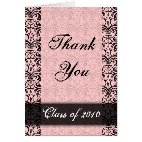 Any Year~ Graduation Card, Pink Damask Thank You Card