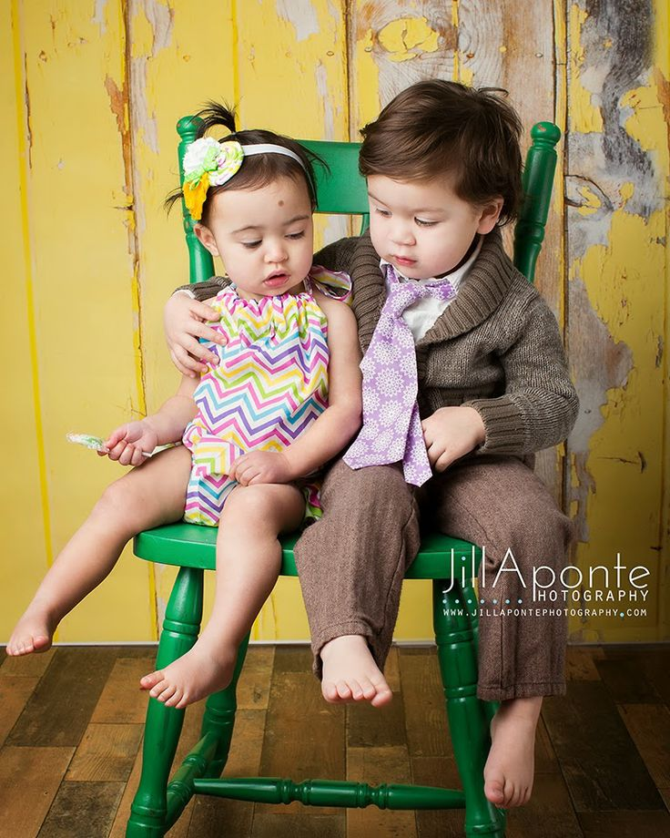 Picture For Brother Sister: Children Photography. Purple. Yellow. Wood Floor. Posing