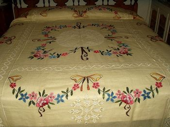 The Gatherings Antique Vintage: Talk About A Beauty! ~ 1920's Hardanger Embroidery Bedspread