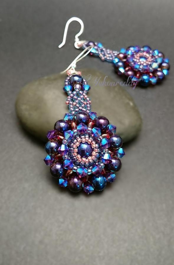 Purple iris earrings by Becca Ross