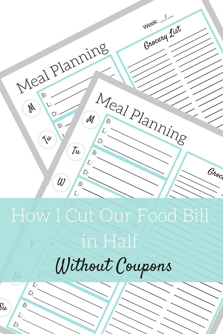 Trying to find ways to save on your groceries bill? Here's how I cut our food budget in half without coupons, plus a free meal planning printable