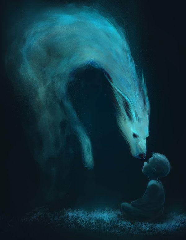 L'Esprit du Loup prend sa forme humaine, un petit garçon d'apparence inoffensive, mais aux dents bel et bien tranchantes, au pas rapide et silencieux.