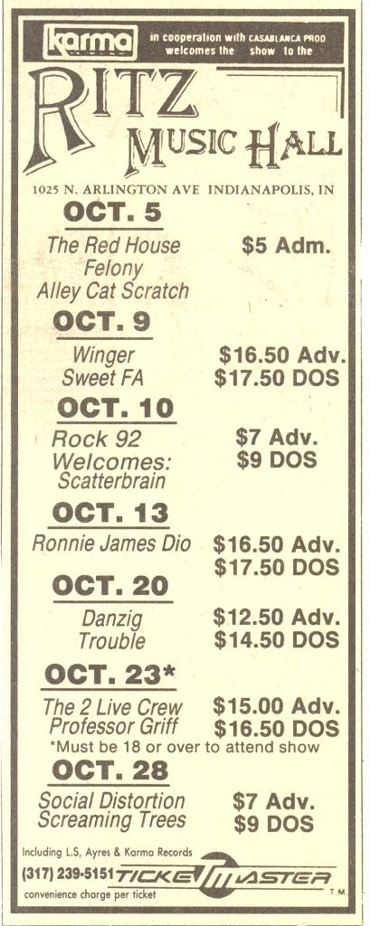 10/90 - Ritz Music Hall - Indianapolis, IN.   Great place to see live shows in the late 80s early 90s.   Only $7 to see Social Distortion.: Photo