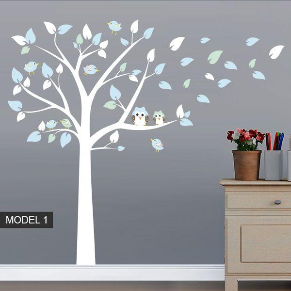 Farbkombination Wandaufkleber Baum Eulen und Vogel Dekoration von WANDTATTOOS auf DaWanda.com