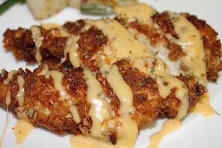 Pretzel Chicken with Mustard Cheddar Sauce