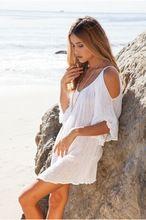 Mulheres vestido de verão estilo boêmio moda sexy off the shoulder praia vestido solto casual vestido branco nova chegada roupas femininas(China (Mainland))