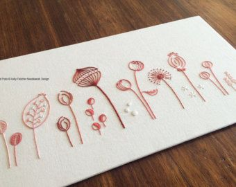 Wild Coral modern hand embroidery pattern by KFNeedleworkDesign