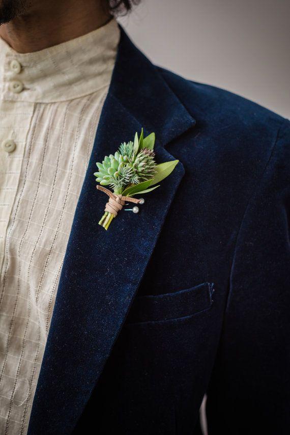 Fleur à la boutonnière fait avec real, longue durée de plantes succulentes