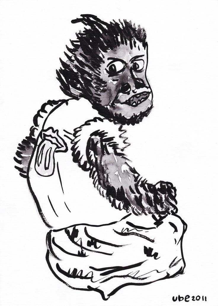 monyet hangover part 2,tinta cina diatas kertas A4,2011.. (ube)