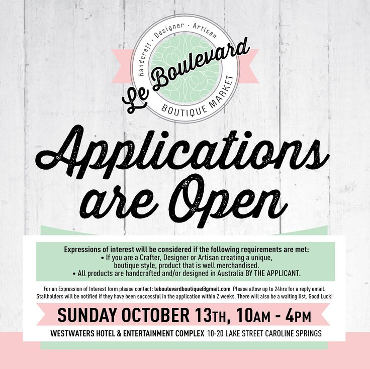 Attention all crafters, designers and artisans! Applications are now open for Le Boulevard, the latest boutique market coming to WestWaters on Sunday, October 13. Click here for more information: https://www.facebook.com/events/209317482551782/