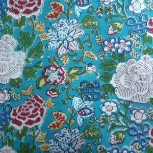 20 Sheeting Cotton Fabric Hand Block Printed FLORAL CANVAS JADE SKU 11119 | Block Printed Fabric By Yard