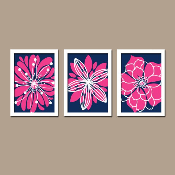 Light Blue Bathroom Wall Art Canvas Or Prints Blue Bedroom: Navy Hot Pink Decor, Flower Navy Pink Bedroom Wall Art