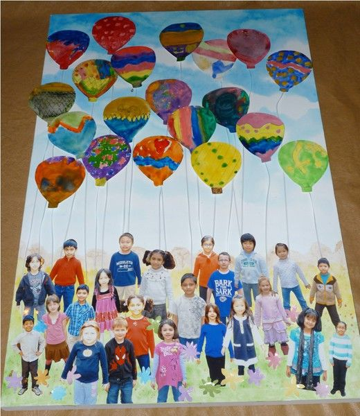 Class Auction Project Idea - (mixed media) photos of kids, on canvas inset with with individual personalized balloon works attached.