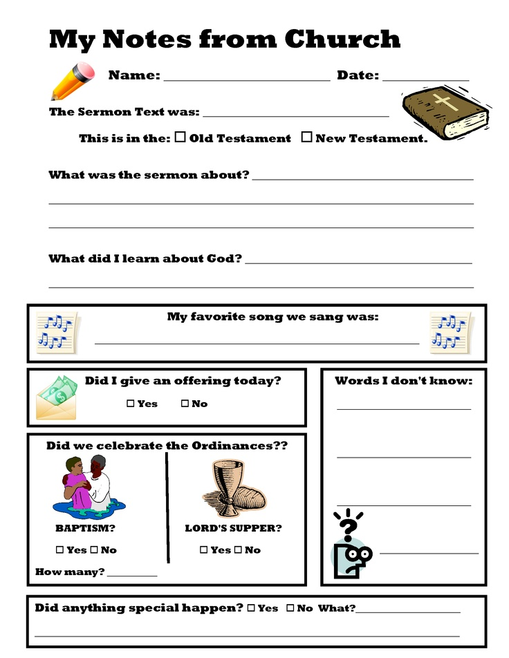 Sermon notes for kids. Worship service lesson