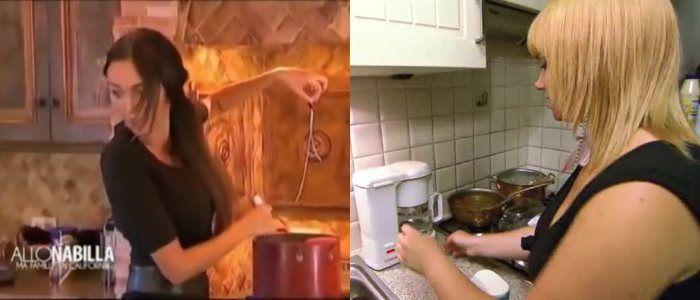 Battle de bimbos en cuisine : Joyce la blonde belge fait du café et Nabilla des pâtes.