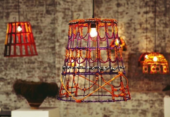 koskela,  Tili Wiru Pendant: Koskela Tjanpi, Lampshades, Trav'Lin Lights, Tjanpi Desert, Central Australia, Beads, Bright Lights, Vogue Living, Desert Weaver