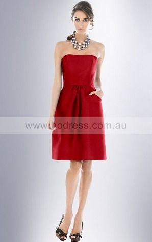 A-line Strapless Knee-length Satin Dropped Evening Dresses gt0984--Hodress