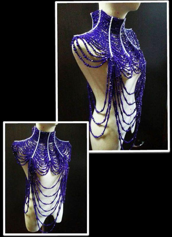 Красивый фиолетовый костюм трансвестита танцовщицы Кабаре костюм бижутерия колье ожерелье