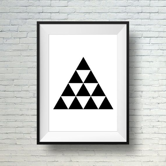 Black and white geometric wall art print