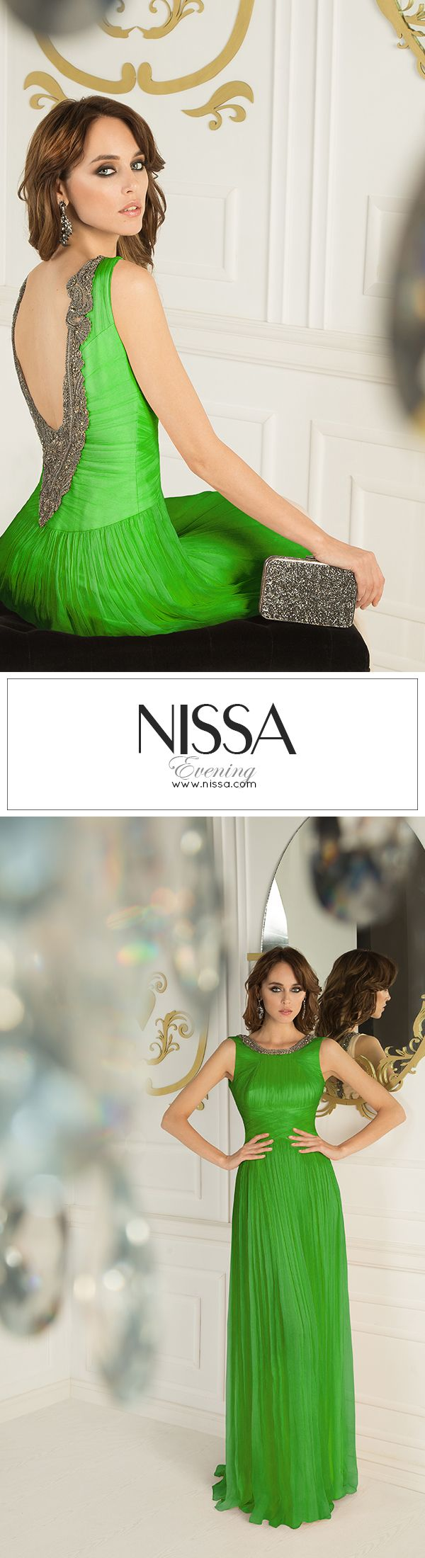 100%Silk Backless Maxi Dress www.nissa.com  #nissa #dress #maxi # #evening #ss2015 #fashion #style #look #gorgeous #long #backless #green