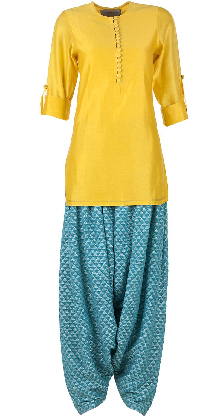 Yellow and aqua blue kurta set by PAYAL SINGHAL. http://www.perniaspopupshop.com/designers-1/payal-singhal