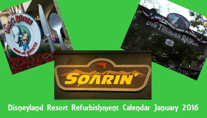 Updated Disneyland Refurbishment Calendar for January 2016