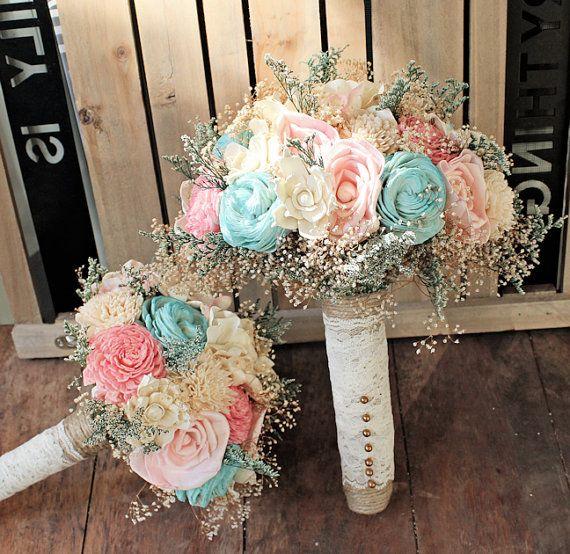 Romantisch huwelijk-Bouquet-roze en Mint van CuriousFloral op Etsy