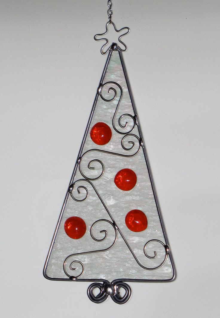 Stained Glass Suncatcher - Iridescent Christmas Tree with Red Jewel Decorations, Ornament, Wire scroll. $24.00, via Etsy.