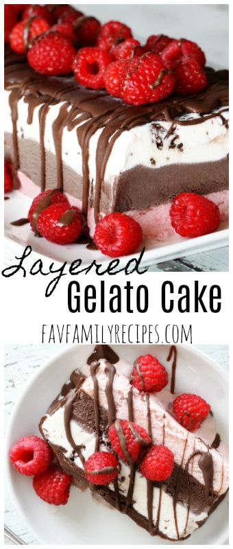 This layered frozen gelato cake takes gelato to a whole new level! It is super easy to make, yet fancy enough to serve at a nice dinner or dessert party. via @favfamilyrecipz