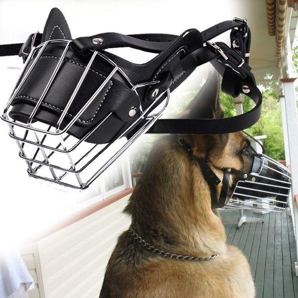 Adjustable Pet Dog Mask Bark Bite Metal Mouth Muzzle Grooming Anti