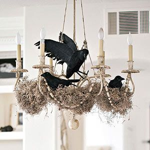 Eerie Chandelier ● Diy ● spooky spin on fall decorating, invite some faux ravens to nest in your chandelier. Secure the birds with wire, then surround them with moss fro