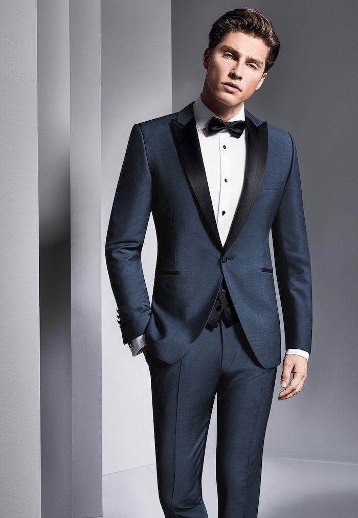 idée de costume mariage bleu marine et noir avec noeud papillon et chemise  blanche 1a51f933378