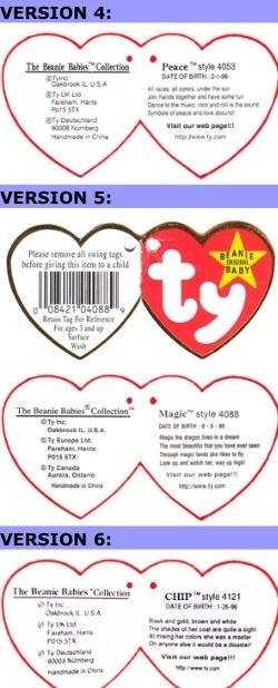 Beanie Babies Value Guide. Beanie Baby generation tags
