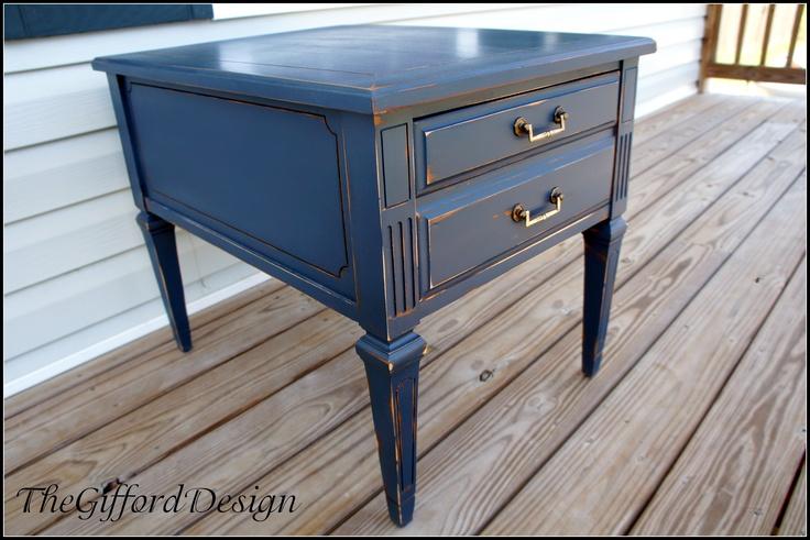 Navy blue painted nightstand repainted furniture for Navy blue painted furniture