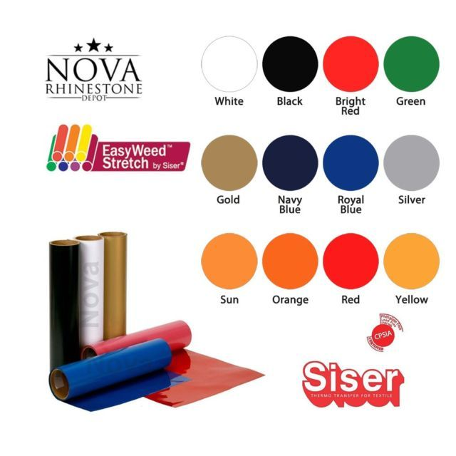 Details About Siser Easyweed Stretch Heat Transfer Vinyl 15 X 9 Select Your Color Heat Transfer Vinyl Siser Easyweed Heat Transfer