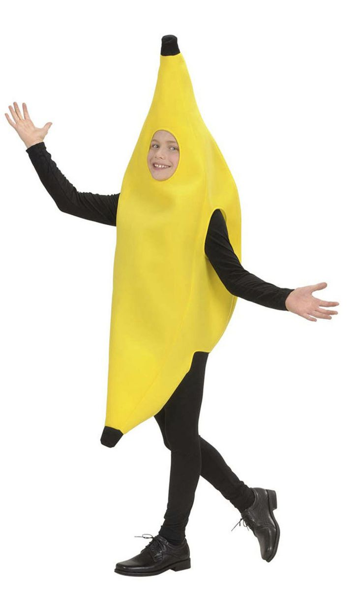 Déguisement banane enfant : Ce déguisement de banane pour enfant se compose d'une combinaison (haut, pantalon et chaussures non inclus). La combinaison jaune et noir représente une banane.Très facile...