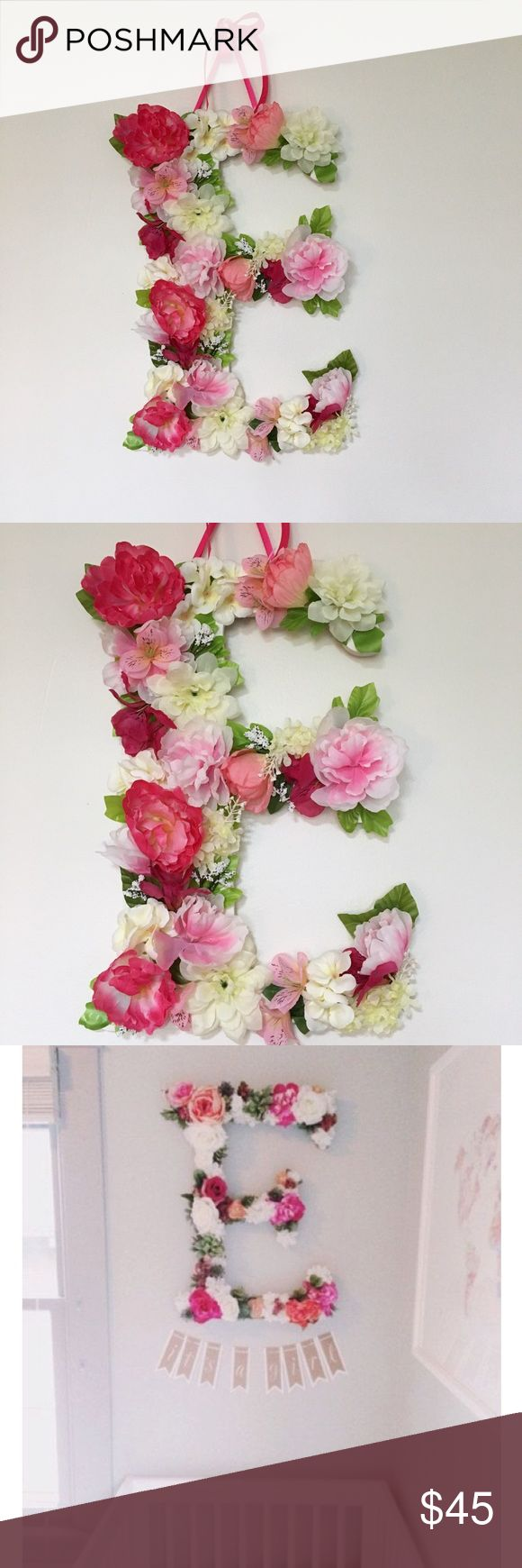 "Handmade floral letter decor. NWT Beautiful handmade 18""tall floral letter is perfect for a bridal shower, wedding decor, baby shower, nursery decor, personalized gift, birthday party, photo shoot prop etc.Letter is made on thick wood, so it is sturdy, durable piece for you to keep forever. You can purchase this letter and message me what letter or number you need. I will make it for you within 3 days and will ship it to you! You can also choose your color theme. P.S.Last 2 photo is not mine, taken from Pinterest as a example. Handmade by me! Accessories"