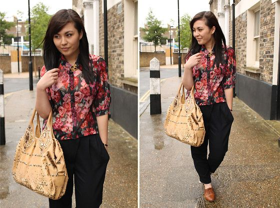 Floral shirts and studded bags (by Amy He) http://lookbook.nu/look/3772429-floral-shirts-and-studded-bags