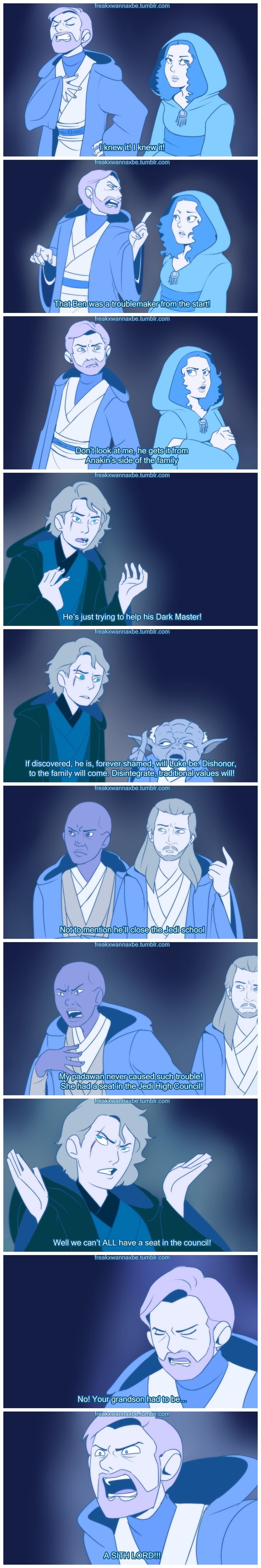 freakxwannaxbe: That scene in Mulan where all the ancestors are arguing about whose fault it was that Mulan ran off to join the army except with all the Force ghosts arguing about Ben Solo.   This is the greatest thing I have ever drawn I am so proud