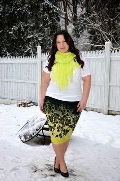 falda estampada & complemento fluor (talla grande)