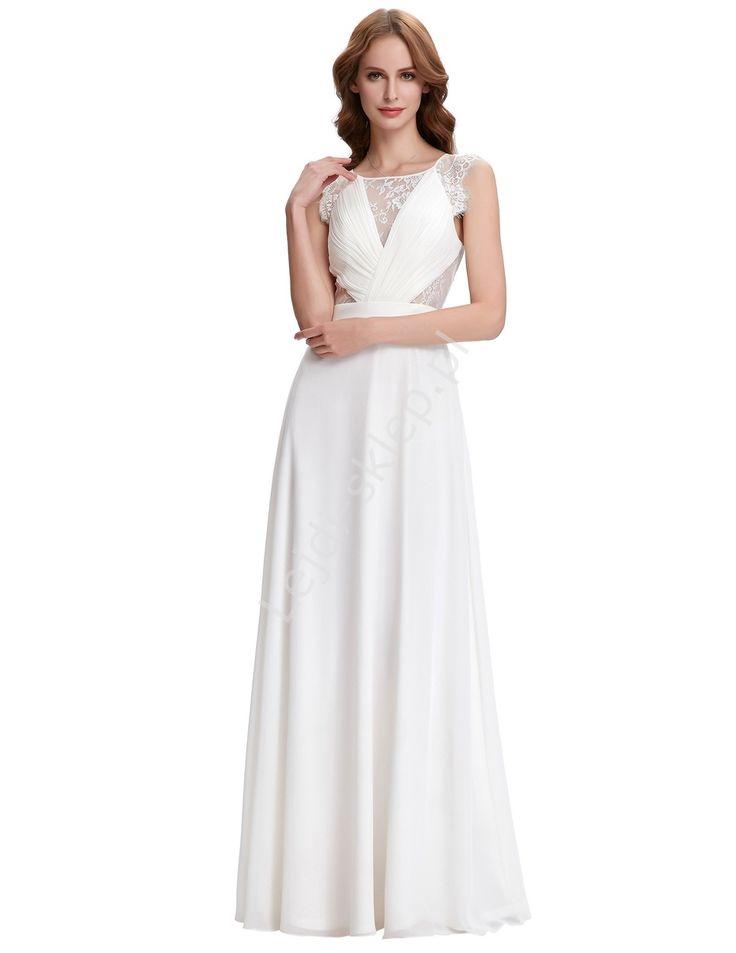 Szyfonowo koronkowa biała suknia w stylu Kate Middleton| białe sukienki, klasyczna biała sukienka