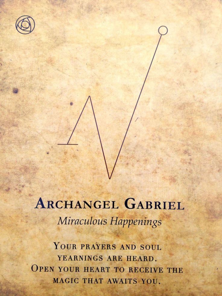 Symbology in Archangels: Gabriel came in with the strong miraculous happenings.