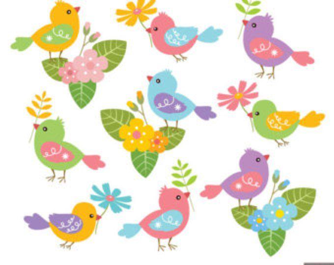 Primavera aves Digital Imágenes Prediseñadas, imágenes prediseñadas de pájaro, flor Clipart