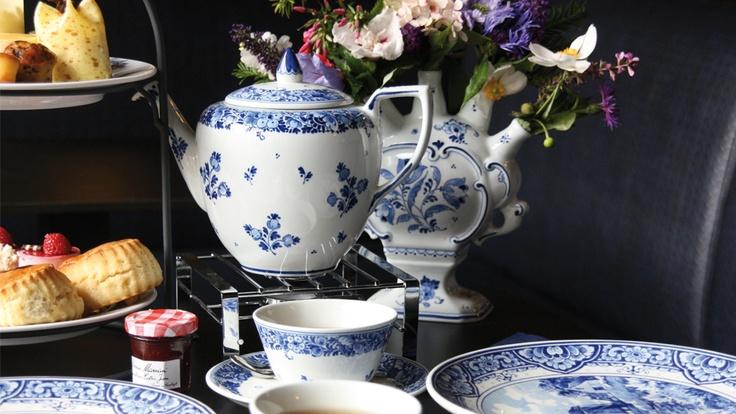 Royal Delft High Tea on Delft Blue earthenware