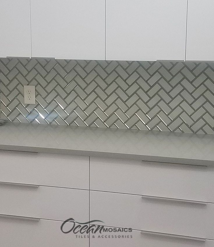 White Herringbone Backsplash Mirror Design In All White Modern