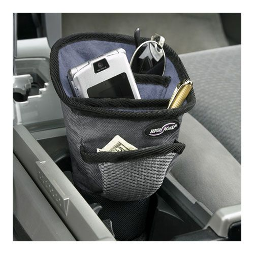 Driver Cup Auto Organizer holds your travel accessories right in an auto cup holder and has a port for recharging your cell and devices.